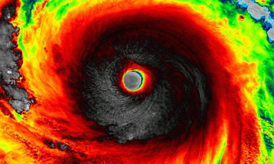 This infrared image of Super Typhoon Soudelor by the Visible Infrared Imaging Radiometer Suite (VIIRS) sensor aboard NASA's Suomi NPP satellite. Image: NASA