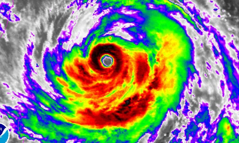 Infrared satellite image of Typhoon Soudelor on Thursday August 6, 2015. Image: NOAA
