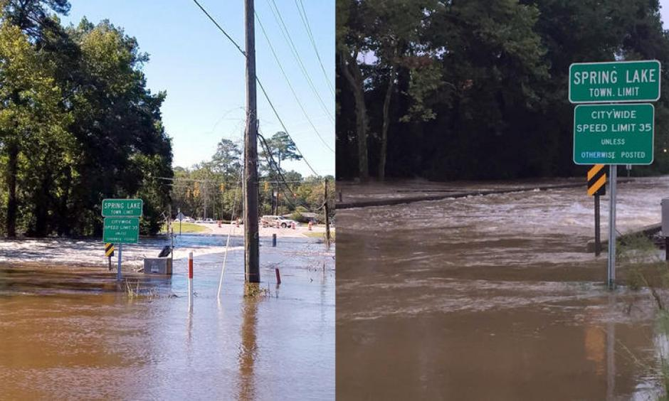 This USGS streamgage sits on the Little River in Spring Lake, North Carolina, and has recorded two record flood events in the past two weeks. The most recent flooding this week (left) was brought on by heavy rains from Hurricane Matthew and the streamgage measured the flood waters at almost 32 feet. The last flood event (right) was on September 29, when water levels went just over 31 feet, breaking the previous peak of 29 feet set in 1945. Photo: USGS