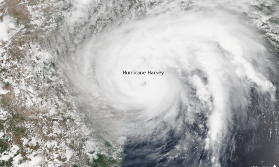 Suomi NPP satellite image taken of Hurricane Harvey on August 25, 2017 using the VIIRS instrument. Harvey made landfall in Texas as a category 4 hurricane. Image:  Data provided by the NOAA Environmental Visualization Laboratory.