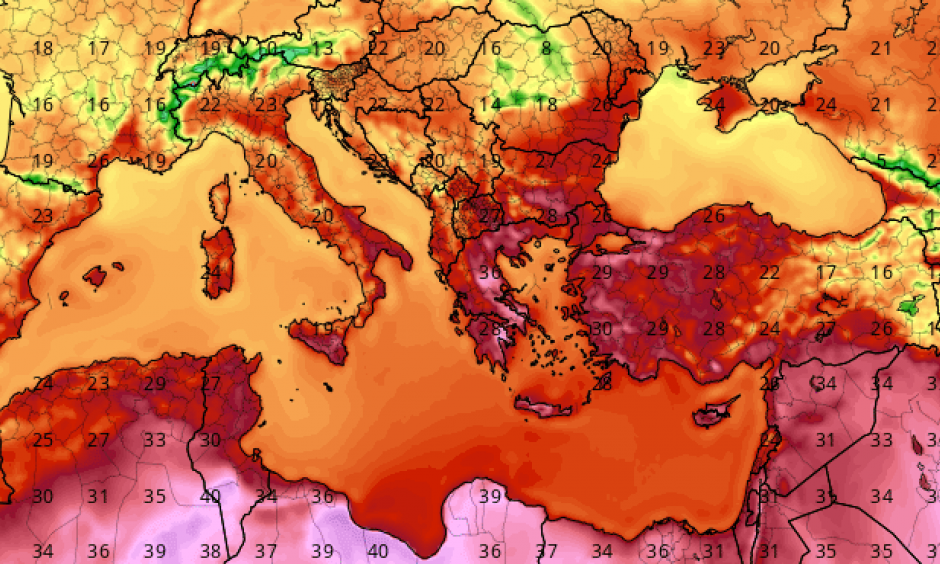 Scorching temperatures affected much of the eastern Mediterranean on Saturday, May 13, 2017. Shown here in degrees C are readings analyzed for 1200Z Saturday (3 PM local time in Athens, Greece). Image: tropicaltidbits