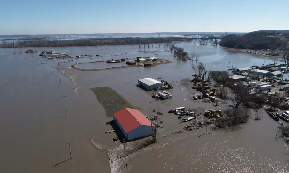 Wednesday, March 20, 2019 aerial photo shows flooding near the Platte River in in Plattsmouth, Nebraska, south of Omaha. The worst of the flooding so far has been in Nebraska, southwestern Iowa and northwestern Missouri. Credit: AP