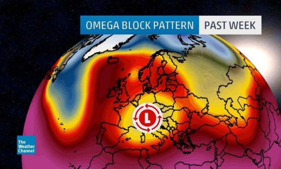 """An extreme """"omega block"""" pattern set the stage for incredible rainfall totals and massive flooding across parts of France and Germany. Image: The Weather Channel"""