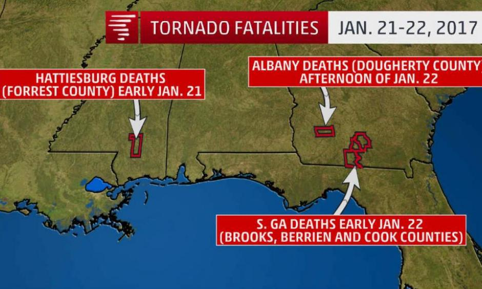 Location of tornado-related deaths Jan. 21-22, 2017. (4 in Hattiesburg, Mississippi; 7 in Cook County, Georgia; 4 in Dougherty County, Georgia; 2 in Brooks County, Georgia; 2 in Berrien County, Georgia). Image: The Weather Channel