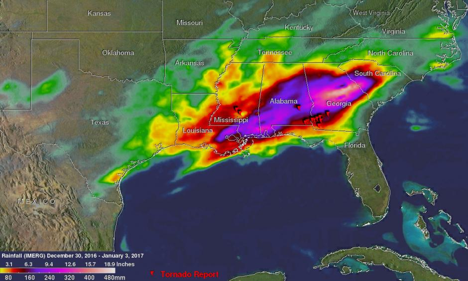 NASA's IMERG estimated total rainfall from Dec. 30, 2016, through early Jan. 3, 2017, at more than 12 inches (305 mm) over the southeastern United States. Red symbols show the locations where some of the numerous tornadoes were reported. Image: Hal Pierce, NASA/JAXA