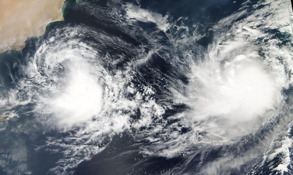 Tropical cyclones Kyarr (left) and Maha (right) on November 1, 2019. Credit: NASA Aqua/MODIS