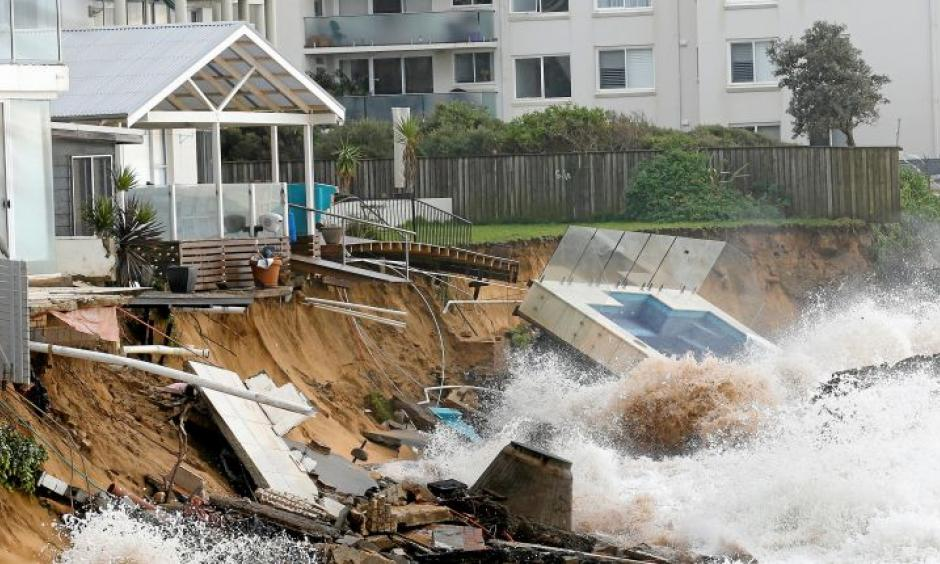 A swimming pool damaged by severe weather at Collaroy Beach in Sydney, June 6, 2016. Photo: Reuters