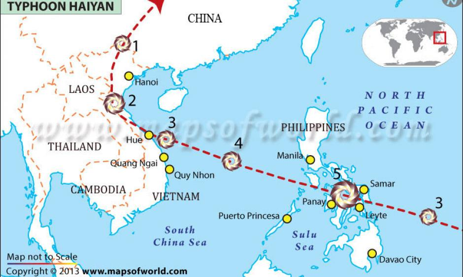 The path taken by Typhoon Haiyan. Image: Maps of World