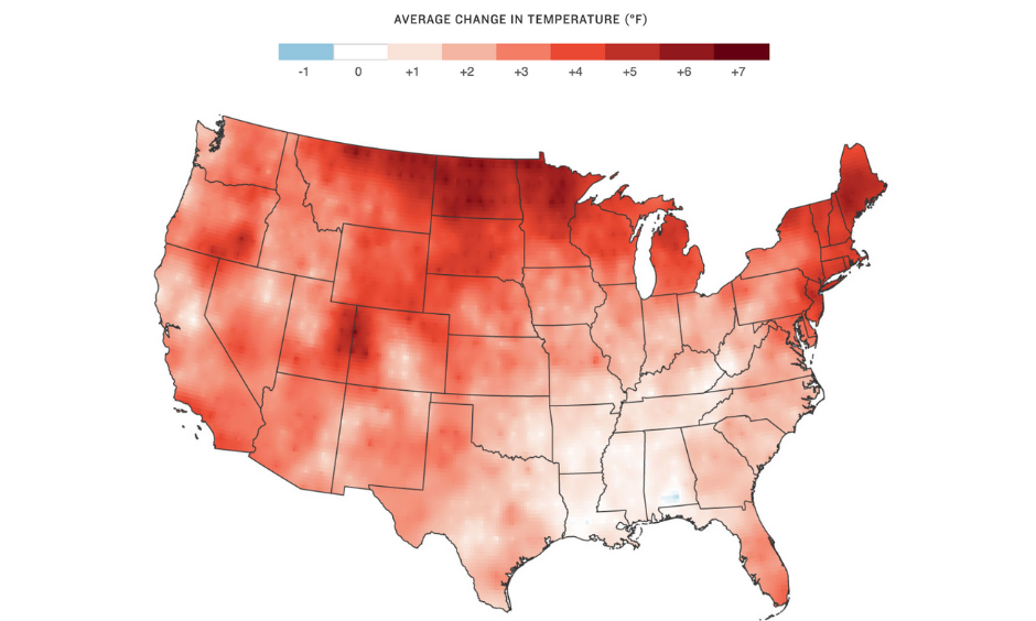warmer winters are one impact of climate change