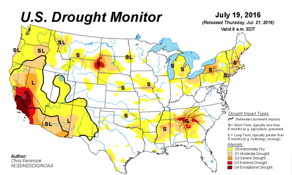 "U.S. Drought Monitor as of July 19, 2016. Areas of progressively worse drought are shown by the darker brown contours. ""Abnormally dry"" areas are shown in yellow. Image: USDA/NDMC/NOAA"