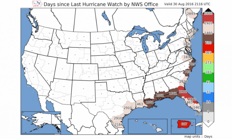 1,465 days since the last Hurricane Watch was issued for FL's Sun Coast. Image: Aaron Perry, Twitter, @arnpry
