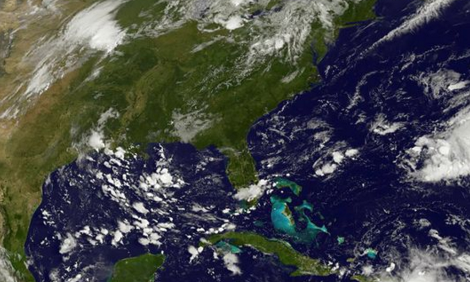 This satellite photo taken August 25 shows storm activity in the Atlantic. Photo: HO, AFP / Getty Images