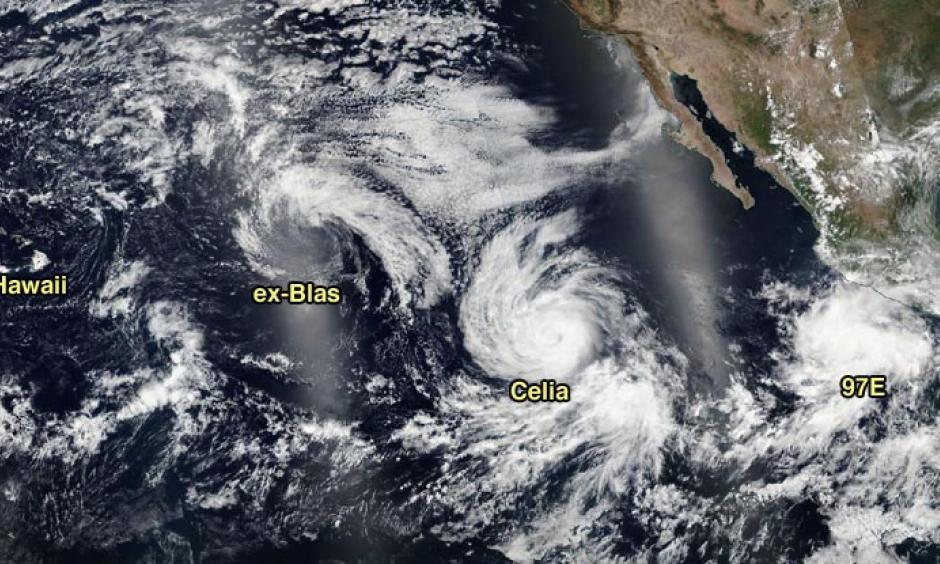 VIIRS visible satellite image of ex-Hurricane Blas, Hurricane Celia, and Invest 97E taken on Sunday afternoon, July 10, 2016. Image: NASA.