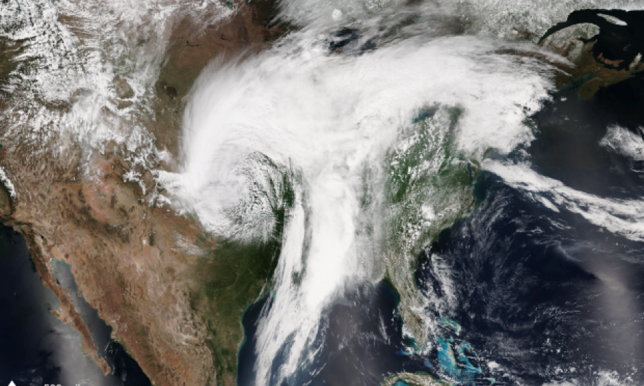 NOAA/NASA Suomi NPP satellite image take on April 30, 2017 using the VIIRS instrument. A sprawling storm system was moving east across the country bringing severe weather, tornadoes and hail to the eastern Plains and Missouri Valley and blizzard conditions to the western Great Plains. Photo: Climate.gov