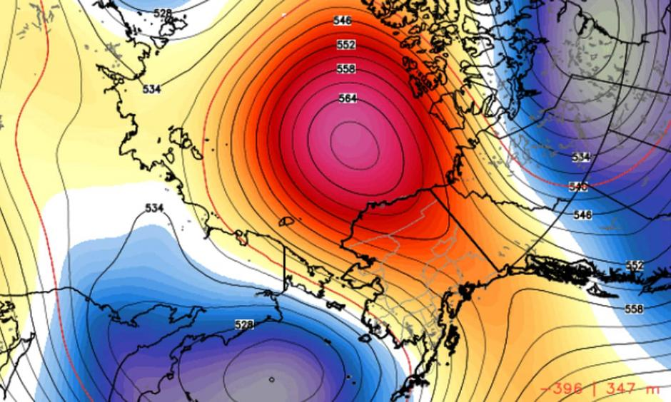 Model simulation of high-pressure ridge over Alaska in the first five days of October. Image: WeatherBell.com