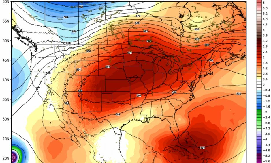 GFS model forecast massive heat dome centered over the central U.S. late next week. Image: WeatherBell