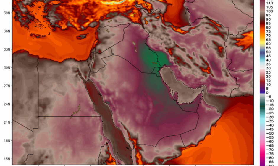 Temperatures simulated by the GFS model in the Middle East on Friday reached 129 degrees (54 Celsius). Image: WeatherBell