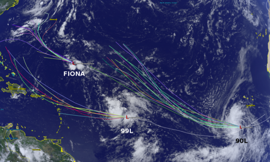 Summary of active tropical disturbances in the Atlantic Ocean and model track projections. Photo: Brian McNoldy