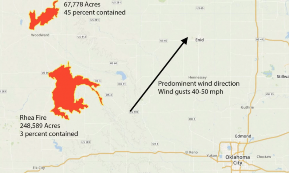 Wildfire situation in northwest Oklahoma on Tuesday. Image: Weather Underground, Angela Fritz