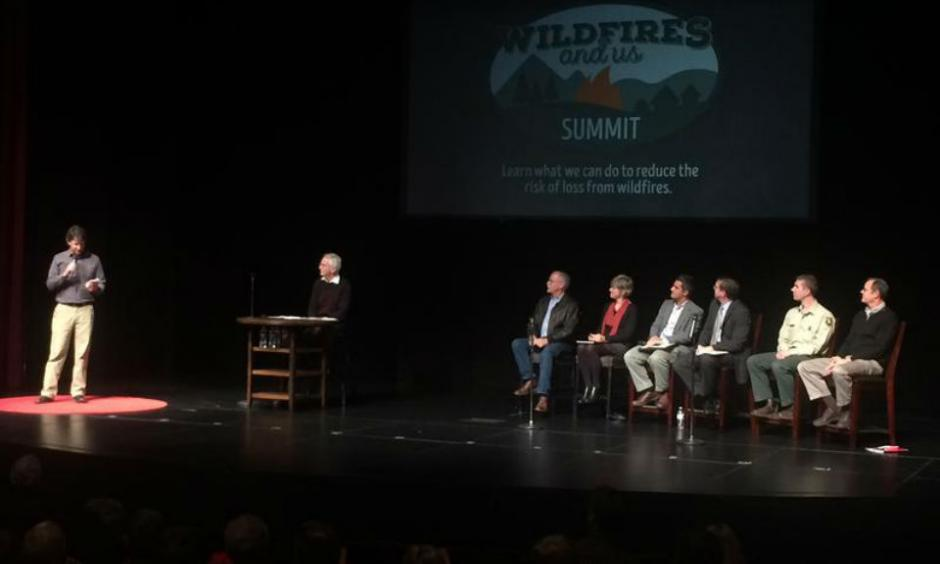 """We don't have to be victims of fire,"" presenters argued at the Wildfires and Us Summit in Wenatchee Monday. ROWAN MOORE GERETY / / NORTHWEST PUBLIC RADIO"