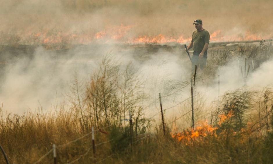 Ken Maple helps put out a grass fire that spread from a neighbor's property northwest of Omak on Aug. 20. Photo: Bettina Hansen, The Seattle Times
