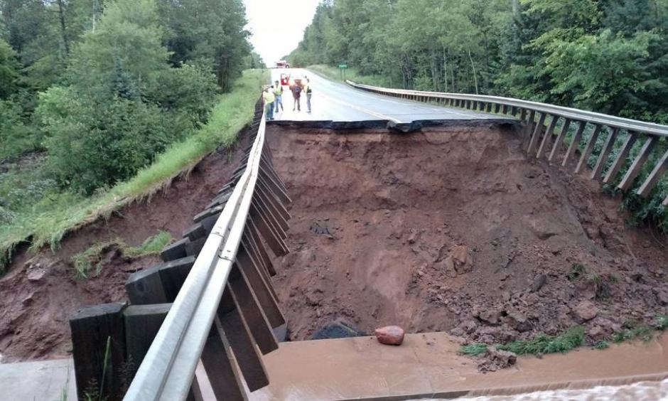 Part of Highway 63 north of Grand View, Wisconsin, was washed out by heavy rains Monday evening. Photo: ReadyWisconsin