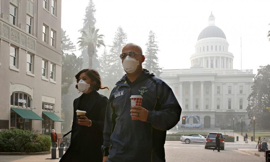 The scene in Sacramento on Thursday. Credit: AP