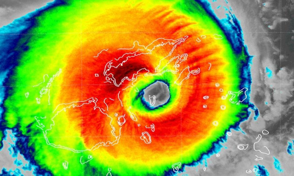 Figure 1. VIIRS infrared image of Tropical Cyclone Winston at 0057 UTC February 20, 2016. At the time, Winston was the strongest storm ever recorded in the Southern Hemisphere, with sustained winds of 185 mph. Koro Island is in the eye. Image: NOAA/NESDIS.