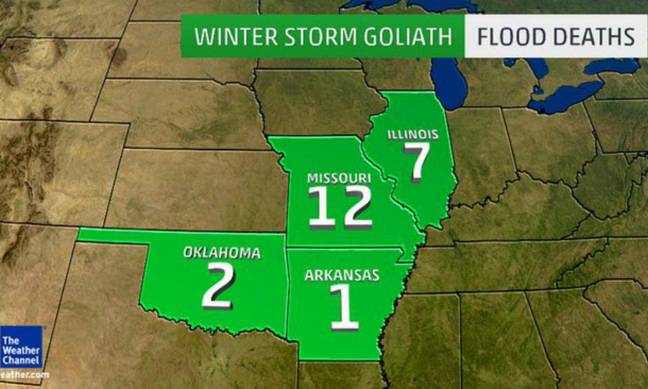 Winter Storm Goliath Flood Deaths. Image: The Weather Channel