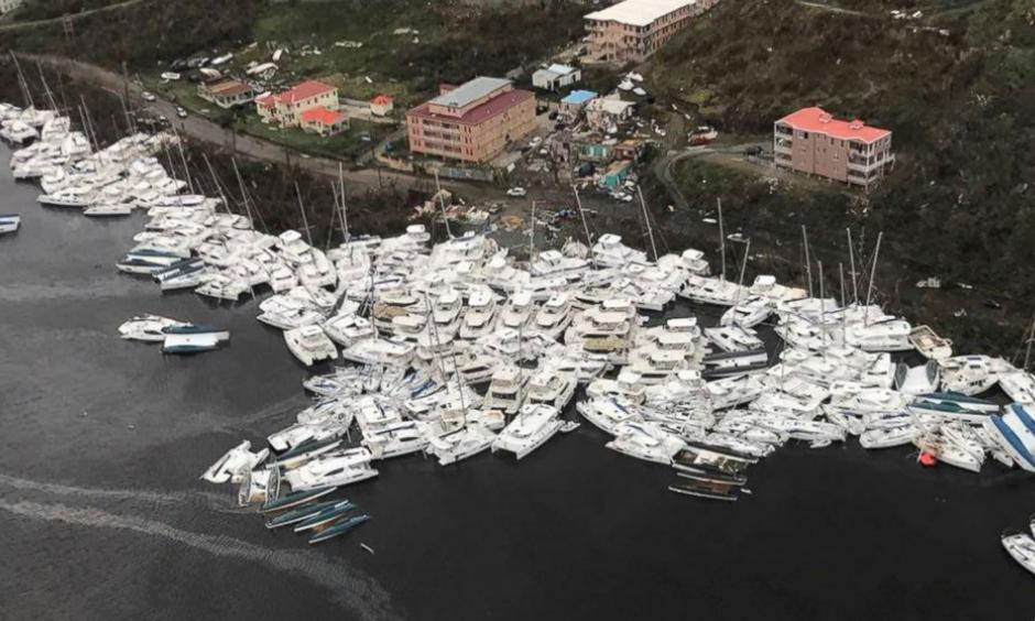 This photo provided by Caribbean Buzz shows boats clustered together after Hurricane Irma Friday, Sept. 8, 2017. The death toll from Hurricane Irma has risen to 22 as the storm continues its destructive path through the Caribbean. The dead include 11 on St. Martin and St. Barts, four in the U.S. Virgin Islands and four in the British Virgin Islands. Photo: Caribbean Buzz via AP