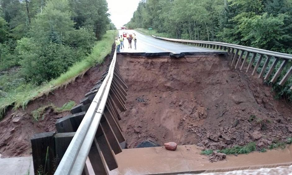 A section of Highway 63 north of Grand View in Bayfield County is washed out by flooding from intense rainfall overnight. Photo: Wisconsin Emergency Management