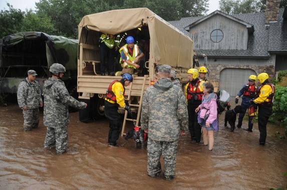 Colorado National Guardsmen respond to floods in Boulder County. Photo: Sgt. Joseph K. VonNida, Wikipedia