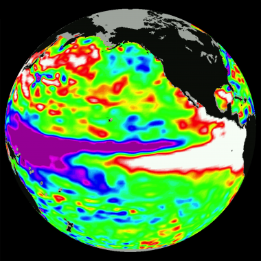Temperature anomalies during the 1997-1998 El Niño event. Image: NASA