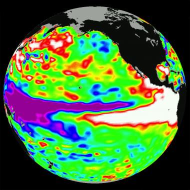 Temperature anomalies during the 1997-1998 El Niño event. Image: NASA