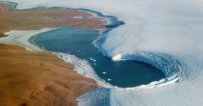 A lake on the edge of the Humboldt Glacier in Greenland in September. Credit: NASA/EPA