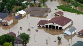 A 2008 flood damaged many of the buildings in La Valle, a town near Reedsburg. Photo: Madison Capital Times