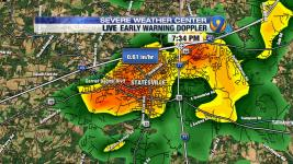 Not what we wanted to see in Statesville this evening - watch for more potential flooding. Image: @SUdelsonWSOC9, Twitter