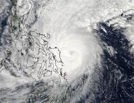 MODIS satellite image of Typhoon Hagupit at 05:00 UTC on Saturday December 6, 2014. At the time, Hagupit was a Category 3 storm with 125 mph winds. Image: NASA
