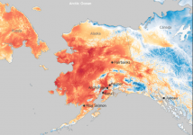 July 8 temperatures cooler than 65°F are shades of blue; those warmer than 65°F are yellow, orange, and red. Credit: NOAA Climate.gov image, based on RTMA data.