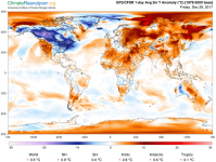 Departure of surface temperature from average for December 28, 2017. Areas in red and orange are not necessarily warm, but they are above the average for this time of year at that location. While the Northeast U.S. was experiencing near-record cold, the globe as a whole was 0.5 °C above average, thanks to global warming. Image: ClimateReanalyzer.org, University of Maine Climate Change Institute