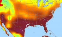 Heat continues to build across the Deep South and Texas Gulf Coast, where the hot temperatures have combined with high humidity. Image: SSEC/RealEarth/University of Wisconsin at Madison