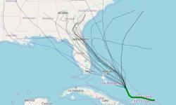 Range of model track forecasts for disturbance that could become Tropical Storm Humberto. Image: StormVistaWxModels.com