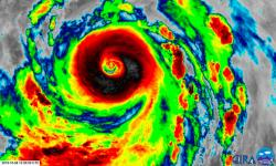 Super Typhoon Hagibis on Tuesday morning. The old eye is nestled within the new, larger structure. Image: CIRA/RAMMB
