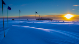 The South Pole Atmospheric Research Observatory in 2014. Photo: NOAA-Lt. Joseph Phillips