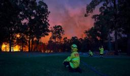 Fire crews in Colo Heights, Australia as bushfires spread. Credit: Brett Hemmings/Getty Images.