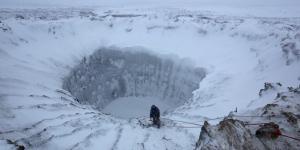 A 100-foot-wide permafrost crater in Siberia's Yamal Peninsula.Photo: Vladimir Pushkarev / Russian Centre of Arctic Exploration