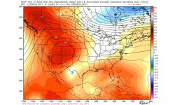 GFS model simulation of heat dome parked over western United States. Image: WeatherBell.com