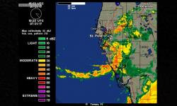 Tropical Storm Emily near the time of landfall in the Tampa Bay, Florida region, at 11:23 am EDT July 31, 2017, as seen by the Tampa radar. Image: Weather Underground, Category 6