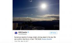 A mid-March sun sighting elicited a highly retweeted post from NWS-Seattle. Image: NWS Seattle on Twitter
