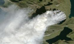A close-up of the wildfire in west Greenland acquired on August 3. Photo: Jesse Allen, NASA Earth Observatory/US Geological Survey